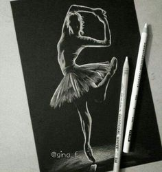 White charcoal drawing of a ballerina.... stunning
