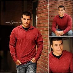 Senior pictures of cool guy in red hoody and jeans_Studio B Portraits_0037.jpg