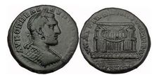 Ancient Coins - MACRINUS, Nicopolis ad Istrum, 217 AD. Beautiful Temple. Extremely Rare!