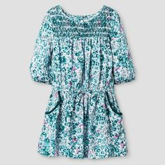 Baby Girls' Challis Floral Dress Blue - Genuine Kids from Oshkosh™ : Target