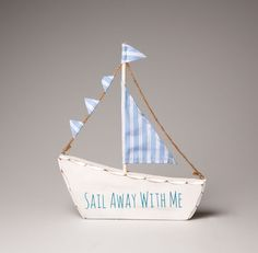 Seaside Nautical Shabby Chic Wooden Sailing Boat Bathroom Ornament