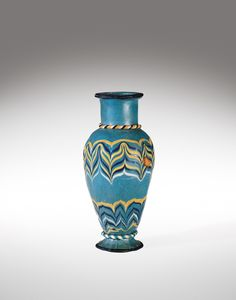 Core Formed Vase, ca. 1400-1300 BC, core-formed, trail decorated, tooled core-forming, Egypt - amazing that it has surrived from ancient times