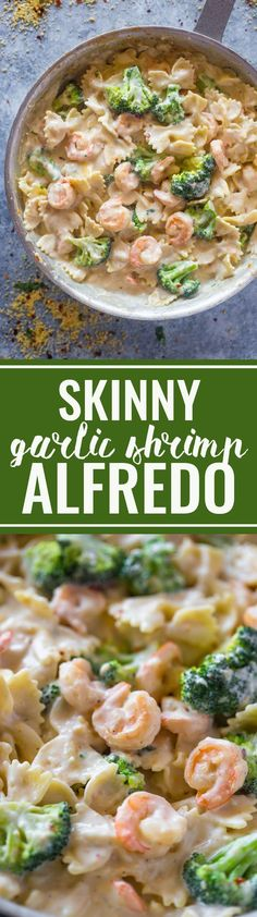 Skinny Garlic Shrimp & Broccoli Alfredo