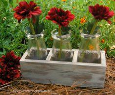 3 Milk Bottle Flower Vase in a Distressed by MinSvenskaLandgard, $26.00