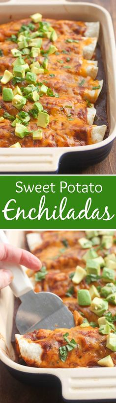 Sweet Potato and Black Bean Enchiladas - an easy, healthy dinner your whole family will love!