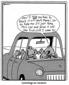 lemmings on vacation | the far side | by: gary larson