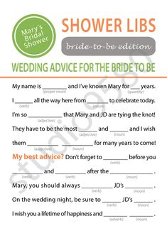 Printable Mad Libs Bridal Shower Game and then make the bride read them all out loud. good idea for downtime as people are coming in Wedding Games, Wedding Advice, Our Wedding, Wedding Ideas, Hen Night Ideas, Hens Night, Bridal Shower Games, Bridal Showers, Bridal Games