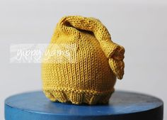 Newborn Knit Hat Elf Nightcap Baby with Knotted Tassel Mustard Gold Yellow Cotton  Newborn photography prop
