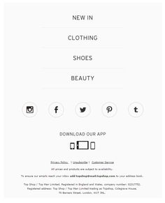 Top Shop email footer 2016                                                                                                                                                                                 More Footer Design, Web Design, Email Design, Email Footer, Ui Design Inspiration, Ui Elements, Design Concepts, Headers, Layouts