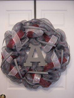 30 Deco Mesh Alabama Crimson Tide Wreath by burt7 on Etsy