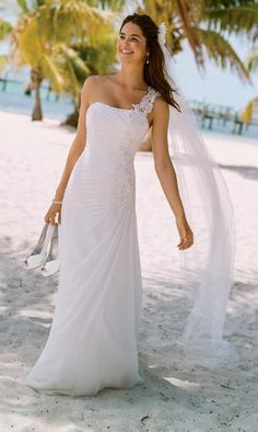 Nice for the beach. Look and feel amazing in this exquisite one shoulder chiffon gown! One shoulder bodice features elegant soft chiffon ruching. Breathtaking floral beaded appliques are ultra feminine and eye-catching. Wedding Dress Gallery, Wedding Dresses Photos, Bridal Wedding Dresses, Designer Wedding Dresses, Wedding Veils, Bridal Style, Wedding Dressses, Wedding Hair, Wedding Gown Preservation