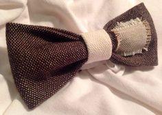 PAPILLON brown con inserto sfrangiato Bow Tie Men di Idillyum