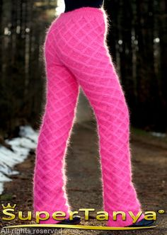 Made to order hand cable knit fuzzy mohair pants von supertanya
