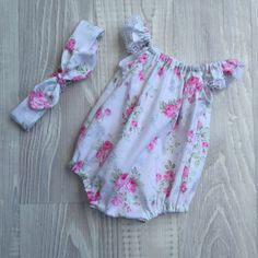 Seaside Playsuit Romper with matching headband by PapillonRoseHC