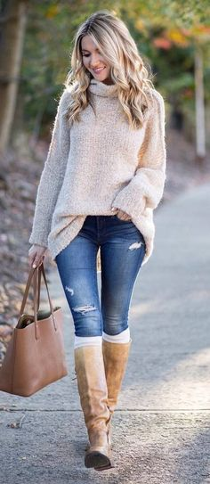 outfit of the day | nude sweater + bag + rips + nude high boots