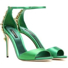 Dolce & Gabbana Crystal-Embellished Satin Sandals (€2.375) ❤ liked on Polyvore featuring shoes, sandals, heels, green, green sandals, green heeled shoes, crystal embellished sandals, satin shoes and heeled sandals