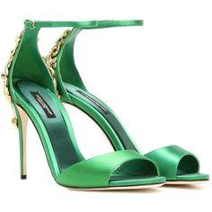 Dolce & Gabbana Crystal-Embellished Satin Sandals (8,945 PEN) ❤ liked on Polyvore featuring shoes, sandals, heels, green, dolce gabbana sandals, heeled sandals, green shoes, green heeled shoes and crystal embellished sandals