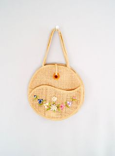 60s woven purse // straw floral tote by VacationVintage on Etsy, $44.00