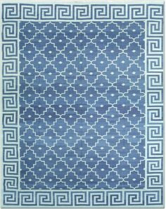 A classic Indian Dhurrie - late 19th or early 20th century.  Gorgeous blue and white.