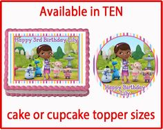 Doc McStuffins  Edible Cake Cookie or Cupcake Toppers Birthday Party Decorations Favors by CakeDesignShop on Etsy https://www.etsy.com/listing/220768345/doc-mcstuffins-edible-cake-cookie-or