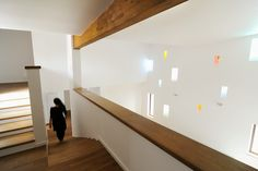 Stairs and White Interior Modern Inspiring House Integrating Colourful Lights in Timisoara, Romania