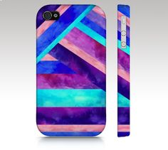 iPhone 4s case, iPhone 4 case, iPhone 5 case, watercolor geometric, tribal aztec, pink purple aqua turquoise,  art for your phone. $36.00, via Etsy.