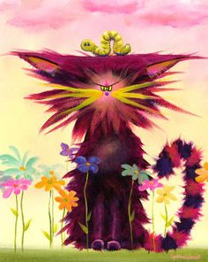 Art 'Cranky Cat With Inchworm' - by Cynthia Schmidt from Cats I Love Cats, Crazy Cats, Gatos Cats, Matou, Earth Design, Cat Colors, Here Kitty Kitty, Cat Drawing, All About Cats