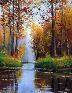 The Morning At The Creek oil canvas Dimensions 50 x 60 centimeters 19 7 x 24 inches Please note This painting has been s Fall Pictures, Pictures To Paint, Nature Pictures, Watercolor Landscape, Landscape Art, Landscape Paintings, Beautiful Paintings, Beautiful Landscapes, Autumn Scenery