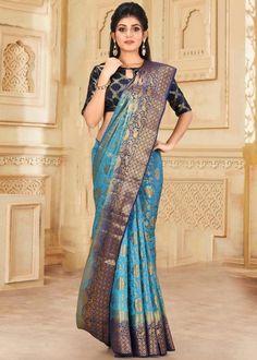 #blue #kanjivaram #silk #saree #blouse #attractive #design #sareelove #new #arrivals #beautiful #indianwear #ootd #traditional #womenswear #online #shopping Kanjivaram Sarees, Dark Blue Color, Traditional Sarees, Sari, Saree Blouse, Indian Wear, Women Wear, Tassels, Online Shopping