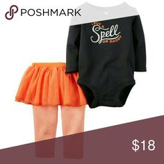 Carter's 2 pc Halloween Outfit Brand new with tags. Size 9 months. Super cute Halloween skirt outfit with matching long sleeved onesie.  I Put A Spell On Daddy.   Baby Girls.  Spend $50 before shipping and get a FREE gift! Carter's Matching Sets