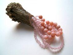 Gemma Draper - cut and birth. brooch. horn. opal beads, pink quartz beads, silver.
