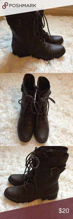 Brown Combat boots American Rag combat boots. Never worn. Zip up on side. Size 9 American Rag Shoes Combat & Moto Boots