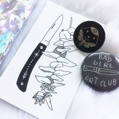 "Just got this beautiful parcel in the mail from @lemaddy featuring her ""Night Scout"" enamel pin and #badgirlartclub pin! Dreamy as ever  #maddyyoung #enamelpin #shinierinRL by melstringer"