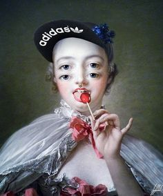 #lollipop #lick #famous #painting #adidas #art #artwork #photomanipulation @adidasoriginals  It doesn't matter who you are when you lick your lollipop.  Madame de Pompadour painting by Francois Boucher.