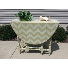 Stenciled drop leaf table