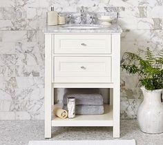 Idea for a small bathroom.  Classic Mini Sink Console - White #potterybarn