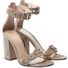 Gianvito Rossi Beige Suede Buckle Heel (€545) ❤ liked on Polyvore featuring shoes, pumps, buckle pumps, block heel court shoes, gianvito rossi shoes, gianvito rossi and suede shoes