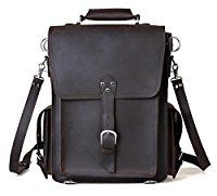 Amango Luxury Genuine Leather Durable Backpack Messenger Bag Fit up to 16'' Laptop Black A1097