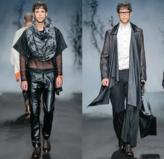 Jonathan Christopher Homme 2015 Spring Summer Mens Runway Looks - FashionWeek Nederland Amsterdam Netherlands - Harness Button Down Long Shirt Tuck Out Wide Leg Trousers Palazzo Pants Crochet Knit Sweater Jumper V-Neck Sheer Chiffon Peek-A-Boo Shawl Scarf Fold Out Draped Lapel Tank Top Sleeveless Crossbody Bag Cardigan Banded Strap Blazer Shorts Bomber Jacket Silk Black