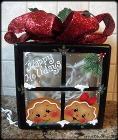 "HP GINGERBREAD ""Happy Holidays"" Lighted GLASS BLOCK #Handpainted Holiday Lights, Holiday Decor, Diy And Crafts, Crafts For Kids, Lighted Glass Blocks, Christmas Projects, Happy Holidays, Gingerbread, Projects To Try"