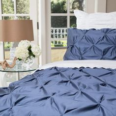 Bedroom inspiration and bedding decor   The Valencia Slate Blue Pintuck Duvet Cover   Crane and Canopy