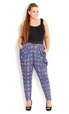 City Chic - SOFT MOSAIC HAREM PANT - Women's plus size fashion #citychic #citychiconline #newarrival #plussize