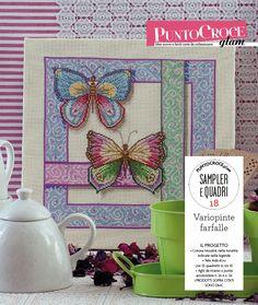 Farfalle graziose, leggere e colorate per questo sampler, con cui dare il benvenuto alla primavera!! Da PuntoCroce Glam numero 28 - Mondadori editore
