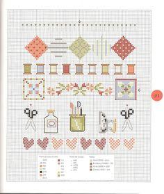 0 point de croix grille et couleurs de fils couture et bobines de fils