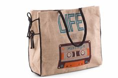 Mona B Life is a Mixtape Burlap Tote Bag with Coin Purse for sale Bags For Teens, Kids Bags, Purses For Sale, Purses And Bags, Burlap Tote, Bags 2017, Travel Tote, Leather Shoulder Bag, Shoulder Bags