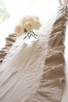 102 inch Ruffled Flax Linen Table Runner by ruffledlinens on Etsy, $69.95! Beautiful,love it!