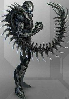 Image cyberpunk art 16 in Urban Fantasy album Fantasy Armor, Fantasy Weapons, Dark Fantasy Art, Fantasy Character Design, Character Concept, Character Art, Robot Concept Art, Weapon Concept Art, Armes Concept
