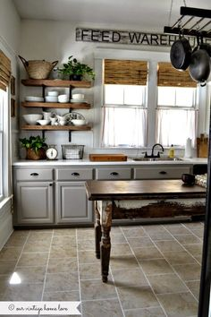 { Beautiful! Cabinet color, open shelving and the table as an island }8acc1db1bb2de8375159b5bf1ea831a8.jpg 650×975 pixels