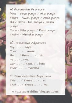 #malay #language #malaysia #bahasa #melayu #pronouns #possessive #adjectives #demonstrative