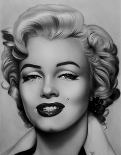 First pinned to Marilyn Monroe Art board, here: http://pinterest.com/fairbanksgrafix/marilyn-monroe-art/ || Marilyn Monroe by ~merk50 on deviantART - Airbrushed acrylic on illustration board